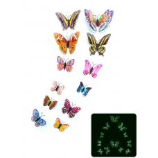 rosegal 12Pcs/Set Glow in the Dark Butterfly PVC Wall Sticker