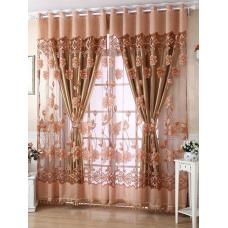 rosegal 1Pcs Grommet Roller Floral Window Tulle   100*250CM
