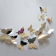 rosegal 12Pcs 3D DIY Mirror Butterflies Wall Stickers