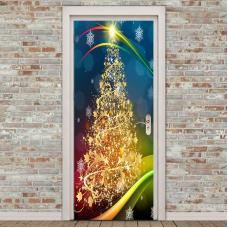 rosegal 2Pcs Golden Christmas Tree Pattern Environmental Removable Door Stickers   38.5*200CM*2PCS