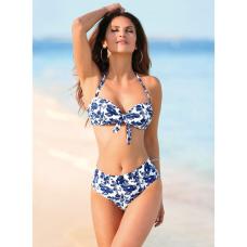 eb383ea4 Venca Bikini bandeau de braga alta con cinturilla estampado azul marino 48
