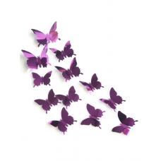 rosegal 12Pcs/Set Mirror Plane 3D Butterfly DIY Wall Sticker