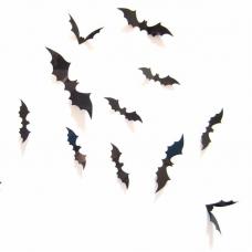 rosegal 12Pcs Black 3D PVC Bat Wall Sticker Decal Halloween Festival Decoration