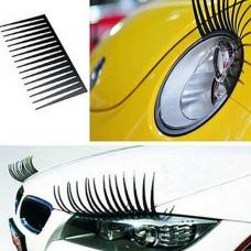 rosegal 2pcs 3D Charming Black Fake Eye Lash Sticker Car Headlight Decoration Funny Decal