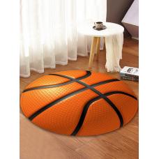 rosegal 3D Basketball Printed Round Coral Fleece Floor Mat   60 CM (ROUND)