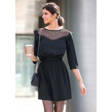 9dd46e5352c Venca Vestido canesú semitransparente y cintura elástica negro 40